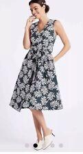 M&S Per Una Navy Mix Dress Size 14