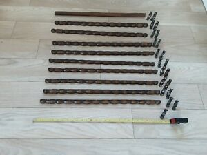 "Vintage 1930s Oak Stair Rods & clips 9 bobbin turned oak 28"" +1 21clips salvaged"