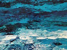 "TURQUOISE SEA Original Acrylic Palette Knife Painting 9""x12""Julia Garcia Art"