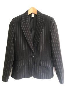 Ladies black pinstripe smart jacket blazer size 8