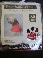 NEW PAW APPEAL DOG/PUPPY PET FASHION SATIN DOLL DOGGIE DRESS RED/BLACK SIZE XS