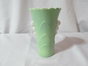 Fire King Green Vase Vitrock Green and White Scalloped Milk Glass Vase