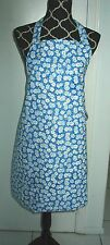 Handmade Full Length Adult Apron - WHITE DAISIES ON BLUE