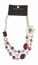 Gorgeous New Purple & Silver Statement Necklace by NY & Company NWT #N1046