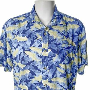 Columbia Fish Silhouettes Large Rayon Blend Hawaiian Shirt