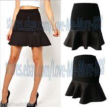 PARTY Clubbing Work Mermaid Ruffle Sheath Slim Mini Skirt Dress BLACK Medium