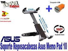 SOPORTE REPOSACABEZAS PARA Tablet ASUS MeMo PaD 10 + CARGADOR MECHERO USB