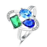 Blue Sapphire & Emerald Gemstone Silver Wedding Band Ring Size 6 7 8 9 925 Gifts