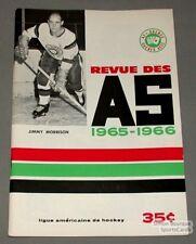 1965-66 AHL Quebec Aces Program Jimmy Morrison Cover