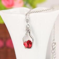 Valentine Birthday Gift Love Drift Bottle Pendant Red Heart Crystal Necklace