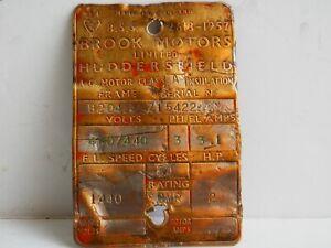 Old Brass Makers Plate. Brook Motors,Huddersfield.