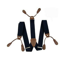 Navy with Brown Unisex Braces Adjustable with Button Holes - UK Seller