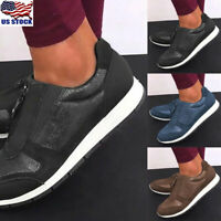 US Womens Casual Zipper Sneakers Trainers Ladies Flat Walking Running Shoes Size