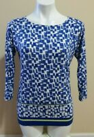 Chico's Blue Geometric Print 3/4 Sleeve Boat Neck Rayon Stretch Top Size 0