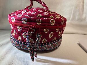 VINTAGE VERA BRADLEY RED LEAF ROUND ZIPPERED HOME & AWAY TRAVEL COSMETIC CASE