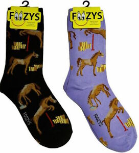 Horse Jumping Riding Equine Brown Cute Wild Animal 2 Pairs Foozys Women's Socks