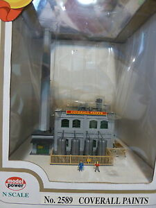 Model Power N #2589 Built-Up Building Lighted w/Two Figures -- Coverall Paints