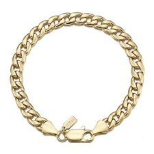 18K Yellow Gold GL Med Curb Solid Mens Women's Unisex Bracelet with Parrot Clasp