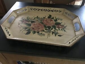 """VINTAGE FLORAL TOLE TRAY OPENWORK HANDLE HANDPAINTED TRAY Beige 18"""" Serving"""
