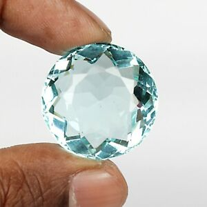 Round Cut Blue Aquamarine 61.05 Ct. 26 mm Faceted Loose Gemstone For Jewelry