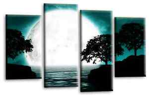 """ABSTRACT Landscape Art Teal White Grey Water Reflection Wall Hanging Canvas 44"""""""