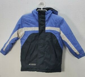 Kids Columbia Insulated Hooded Jacket Blue White Black Stripe Sz 6 /6X
