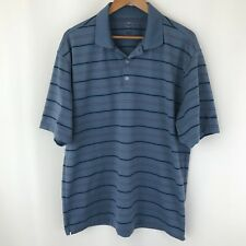 Nike Golf Men's Size L Blue Striped Polo Stretch Short Sleeve Athletic Orange