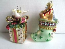 Two Fitz & Floyd Glass Christmas Tree Ornaments, Peace Dove Gift Box & Stocking
