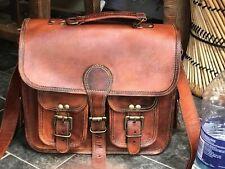 """17"""" Large Men Real Leather Vintage Brown Messenger Shoulder Laptop Bag Briefcase"""