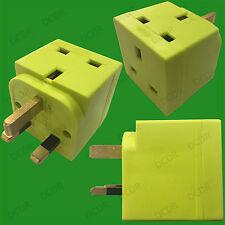 1x 2 Vías, Verde Claro 13 Amp Enchufe GB 3 Bloque De Pin Adaptador Divisor