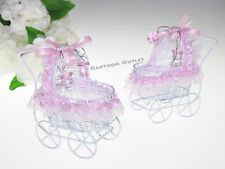 12 PC BABY SHOWER STROLLER CARRIAGE DECORATED PINK RECUERDOS CARIOLA ROSA GIRL