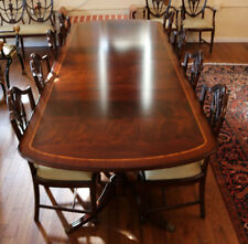 KILLER Flame Mahogany Regency 120 in Duncan Phyfe Dining Table w 2 LVS MINT