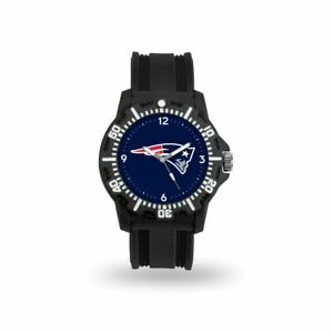 New England Patriots Black Rubber Strap Water Resistant Mens Watch