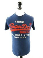 SUPERDRY Mens T-Shirt Top S Small Blue Cotton & Polyester