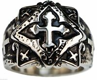 Knight's Templar Cross Men's Stamped Ring Heavy Stainless Steel Size 6