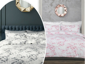 Grey / Pink Marble Effect Duvet Cover Bedding Set Single Double King