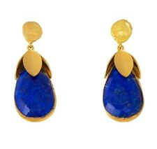 New 18K Gold Plated Hand Beaten Top Earrings w/ Multifaceted Lapis Lazuli Bottom
