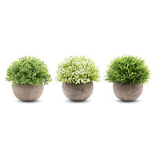 3 Pieces Artificial Plants Mini Plastic Fake Green Grass Topiary Shrub Gray Pot