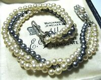 Pretty Vintage Jewellery Simulated Pearl 3 Row Sterling Silver Clasp BRACELET