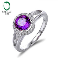 1.35ct Purple Amethyst Round 14k White Gold Natural Diamond Party Ring Jewelry