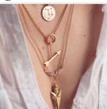 4 Layer Charm Chain Pendant Geometry Choker Statement Necklace