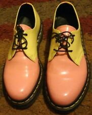 Dr Martens UK size 4 37 Boots Shoes 3 Eye Acid Pink Yellow Orange Patent Leather