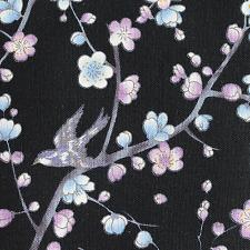 Japanese Sakura Cherry Blossom black cotton fabric craft fat quarter FQ #F0005
