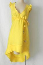 SixValves Dress Sleeveless Yellow Linen Hi-Low Empire Waist Size M (US S)