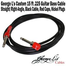 George L's 15' ft .225 Guitar Bass Cable Black / Red Right-Angle Straight New