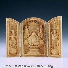 Original Chinese Handwork Carved Boxwood Buddha Statue China Calligraphy BOX
