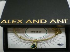 Alex and Ani May Emerald Charm Bangle Bracelet Teardrop Raf Gold NWTBC