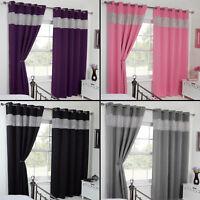 Thermal Blackout Diamante Eyelet Ring Top Pair of Curtains Black Pink Purple