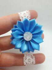 Flower Wrist Band Corsage Bracelet Wedding Prom Party Bridesmaids Decor UK Blue