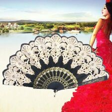 Black Silk Folding Lace Hand Held Dance Spanish Style Fan Sequins Flower